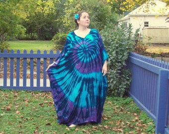 Tie Dye Caftan Poncho, Adult and  Plus Size Tie Dye Dress, Wild River Tie Dye,  L XL 2X 3X