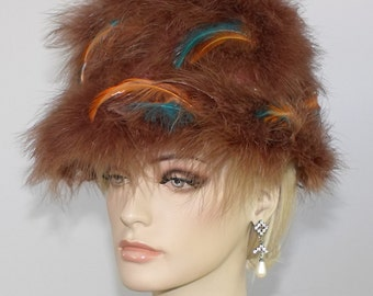 1960's Ladies Ostrich Feather Bucket Style Boho Hat // Feather Hat // Bucket Hat