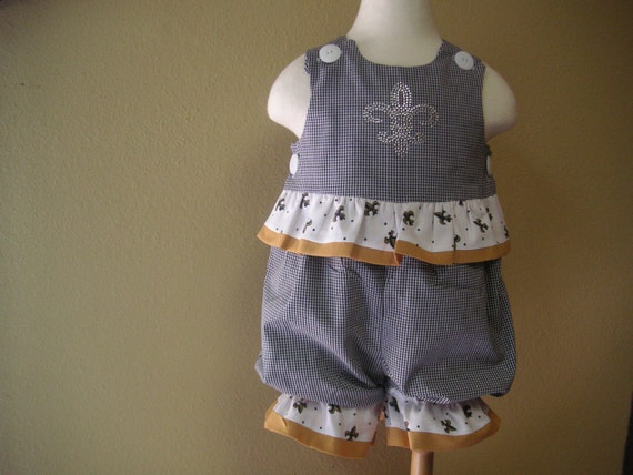 New Orleans Saints Baby Girl Clothing of Black Gingham Romper with Rhinestone Fleur de Lis
