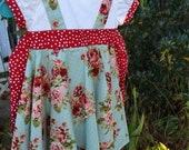 Little Girl Dress Size 3 Toddler Aqua Red Pink Roses Hankie Hem Party Holiday Lined Flower Girl Special Occasion Dress