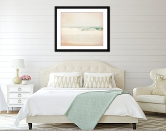 Bedroom Wall Art, Beach Wall Decor, Wave Photography, Ocean Photograph, Seaside Art Print, Oversized Picture, Mint and Pink Art