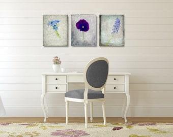 Botanical Canvas Art Set, White and Purple Wall Art Set, Set of 3 Canvas Wrap, Flower Photograph Canvas Set, Three Vertical Canvas Set