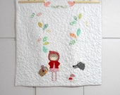 Litlle Red Riding Hood applique baby quilt/Once upon a time baby quilt/playmat/Fairy tale quilt/shower gift/Christmas gift/made to order