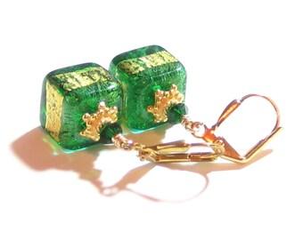 Murano Glass Emerald Green Aqua Cube Gold Dangle Earrings, Venetian Jewelry, Leverback Earrings, Italian Jewellery