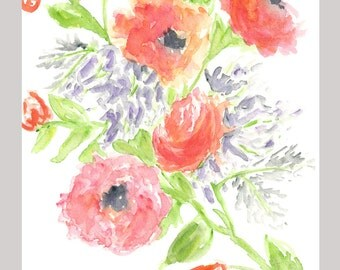 Watercolor flowers original painting, flower art, watercolor floral painting, spring decor, original watercolor flower, pink orange, 8X10