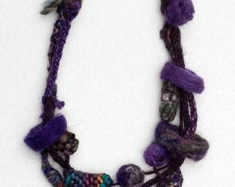 Dark purple felted necklace, Fiber statement jewerly, OOAK