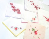 Vintage Set of 6 Six of Valentines Day Theme Hankies Embroidered Hearts Roses and Lace Red Pink