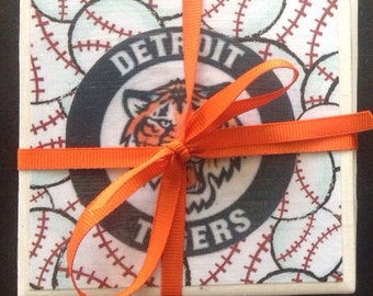 Detroit Tigers Tile Decoupaged Set of 4 Drink Coasters, Housewarming, Gift Idea, Wedding, Bridal, Bar, Drinkware, Stocking Stuffer