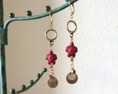 Red Turtle Gypsy Earrings - Gold Metals - Repurposed Findings