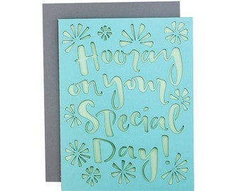 Hooray on your special day laser cut card