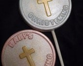 12 Baby's Christening with Gold Cross for Boy or Girl Chocolate Lollipops Party Favors
