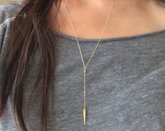 Gold Y Lariat Drop Spike Necklace also in Silver