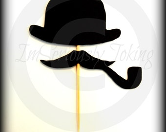 12 Bowler Hat and Mustache with Pipe Cupcake Toppers- Little Man Party-Mustache Party-The Gentleman-Mustache Cupcake Toppers-Mustache Theme