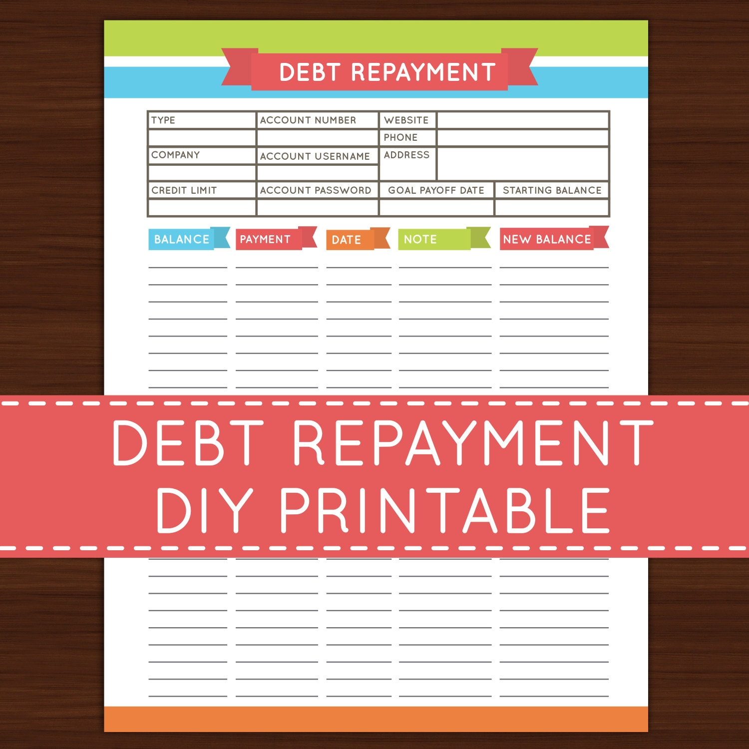 Playful image inside debt payoff printable