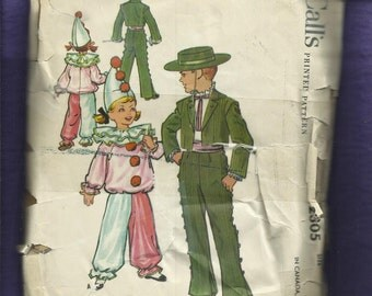 Vintage 1959 McCall's 2305 Mid Century Caballero & Clown Costumes for Kids  Size 12 Kids