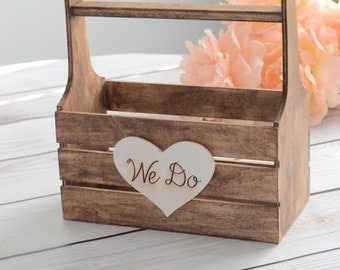 We do flower girl basket-  wooden flower girl basket- southern country chic weddings