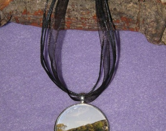 Lake Windermere - 40mm silver plated picture pendant
