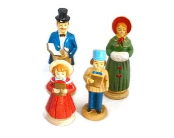 "Vintage Ceramic Christmas Victorian Family Caroling 1960s Commodore Original Box ""Choral Family Group"" No. 669C"