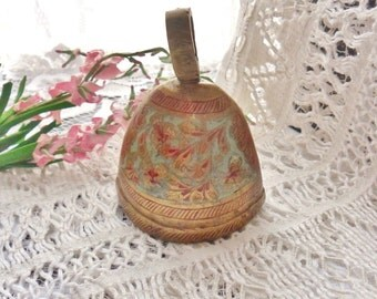 Enameled Brass Bell from India, Handmade Etched Elliptical Bell