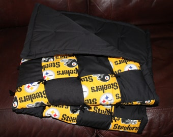 NFL Pittsburgh Steelers Checker board baby quilt.