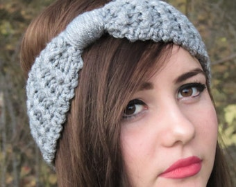 Knotted,Crochet Headband Knitted Turband Ear Warmer in Gray. Ear Warmer, Head Dress, Winter Fashion, Hair Bands Hair Coverings for Women