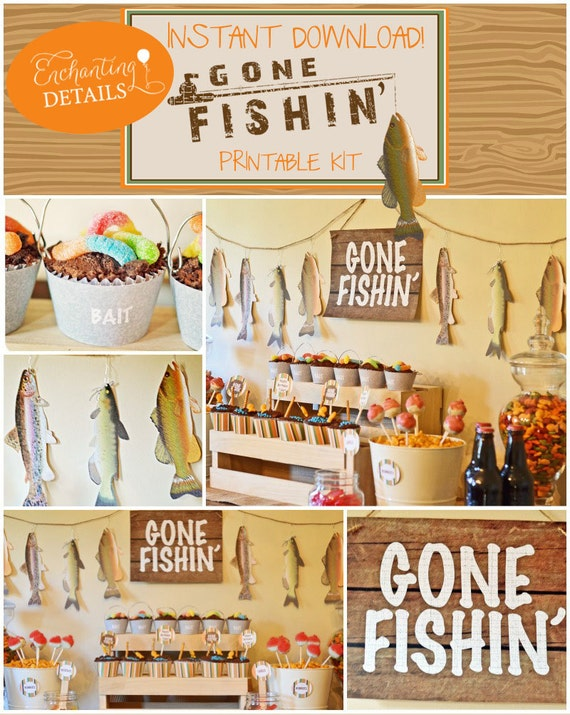 EDITABLE Fishing Gone Fishin' Printable Birthday Complete Party Kit & Invitation- Instant Download and DIY/Customize in Adobe Reader