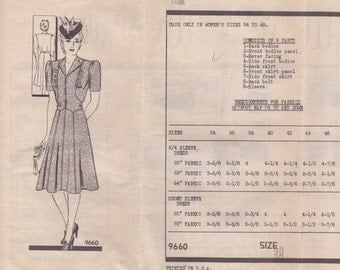 Unique 1940s Mail Order Dress Pattern 9660 Size 38