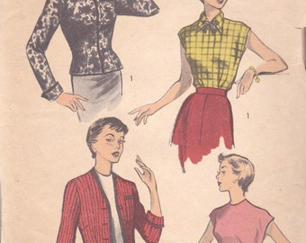 1950s Blouse and Jacket Pattern Advance 5622 Size 13