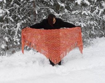 Handmade Triangle Shawl, Crochet Shawl, Winter Accessory in Orange and Yellow, Christmas Gift, Crochet Wool Shawl, Crochet Lace Shawl