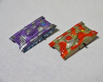 2pc 50's Japanese vintage TIN Toy miniature TANK set