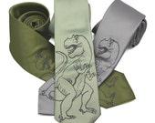 Dinosaur Tie silkscreen neckties. Microfiber screen printed T-Rex tie
