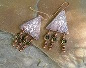 Triangular etched vine copper earrings with olive green dangles