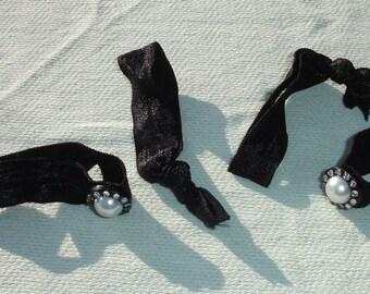 Black Rhinestone & Pearl Hair Ties - Set of 4 Elastic Hair Ties