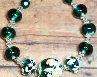 Lampwork Bead Bracelet, Lampwork Jewelry, Handmade Teal and Ivory Rose Beads, Sterling Silver