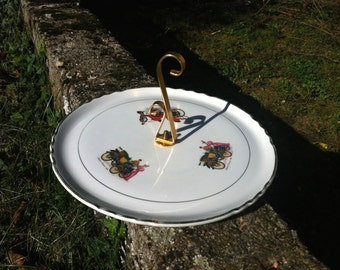 Cheese board. Vintage French serving plate with antique car illustrations