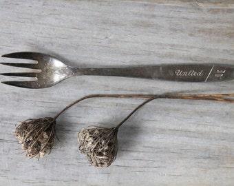 United Airlines vintage silver plate  fork / retro collectibe decor / retro fork / retro kitchen / gray silver patina / retro memento fork
