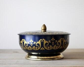 Vintage metal candy tin / cottage chic home decor / ornate English candy tin / navy / gold / repurposed metal storage box / desk decor box