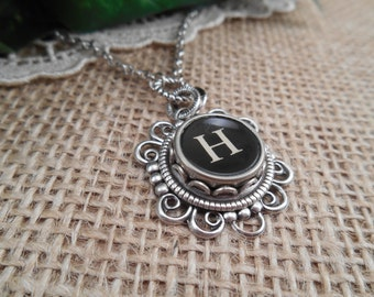 Typewriter Key Jewelry ~ Initial H ~ Personalized Letter Necklace