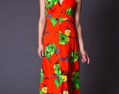 RESERVED SALE 50% OFF 70s Vintage Tropical Print Maxi Dress in Red
