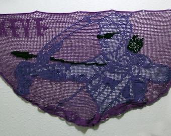 Disney Marvel comics Avengers Hawkeye shawl wall hanging filet crochet handmade purple