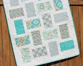 Aqua Gray Baby Girl Quilt, Handmade Floral Blanket, Nursery Bedding, Modern Baby Quilt