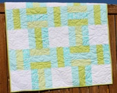 Blue Baby Quilt, Green Baby Boy Quilt, White, Modern Quilt, Nursery Bedding, Crib Quilt, From Bump to Baby, Handmade, Pastel, Blanket