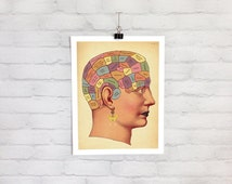 Funny Phrenology Brain Art - Vintage Anatomical Anatomy Biology Art Print of a Bizarre Crazy Airy Fairy Happy Hippie