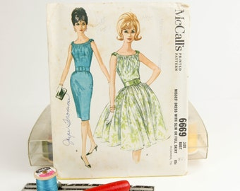 Size 12, Sleeveless dress w/ shirred bodice, three and four gore skirt, 1960s McCall's (6669), Vintage Sewing Pattern