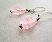Pink Earrings - Brass - Cute Jewelry - Adorable Peach - Vintage Style - Girly - Simple