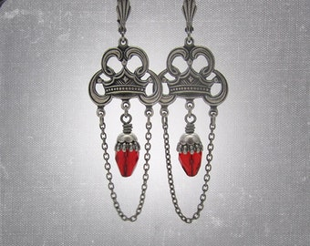 Gothic Chandelier Earrings - Bright Red - Vampire Goth Jewelry - Macbeth Crown