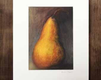 Bosc Pear Oil Pastel Painting Print