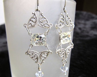 Art Deco Bridal Earrings Art Nouveau Wedding Earrings Sterling Earrings Filigree Earrings Crystal Jewel Earrings Vintage Earrings- The Look