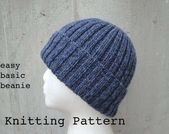 Free Knitting Pattern Mens Beanie Hat : easy mens hat   Etsy