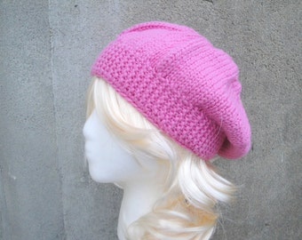 Chunky Knit Hat for Women, Bubblegum Pink, Merino Wool, Toque Cap, Slouch, Banded Beanie